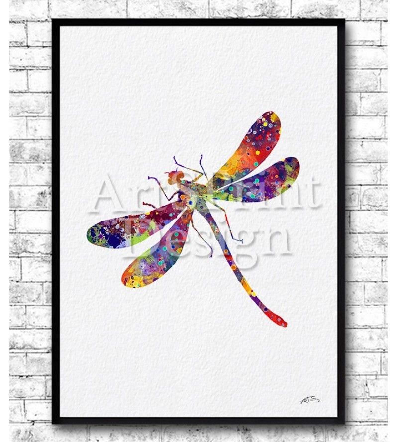 Dragonfly Print – Watercolor Wall Art – Dragonfly Painting Inside Dragonfly Painting Wall Art (View 19 of 25)