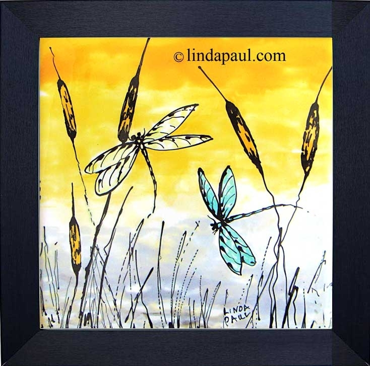 Dragonfly Tiles Or Removable Framed Backsplash Art Within Dragonfly Painting Wall Art (Image 13 of 25)