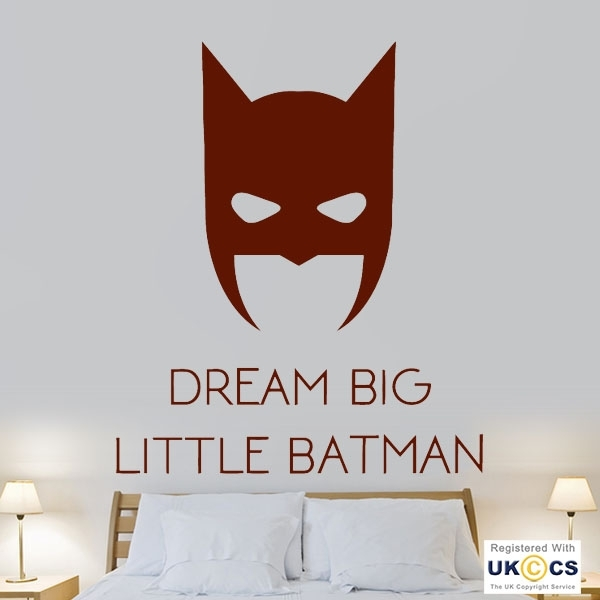 Dream Big Little Batman Boy Bedroom Superhero Wall Art Stickers With Regard To Superhero Wall Art (Image 2 of 20)