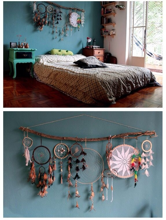 Dream Catcher Decor Over Bed Or Headboard , Bohemian Hype Bedroom With Bohemian Wall Art (Image 14 of 25)