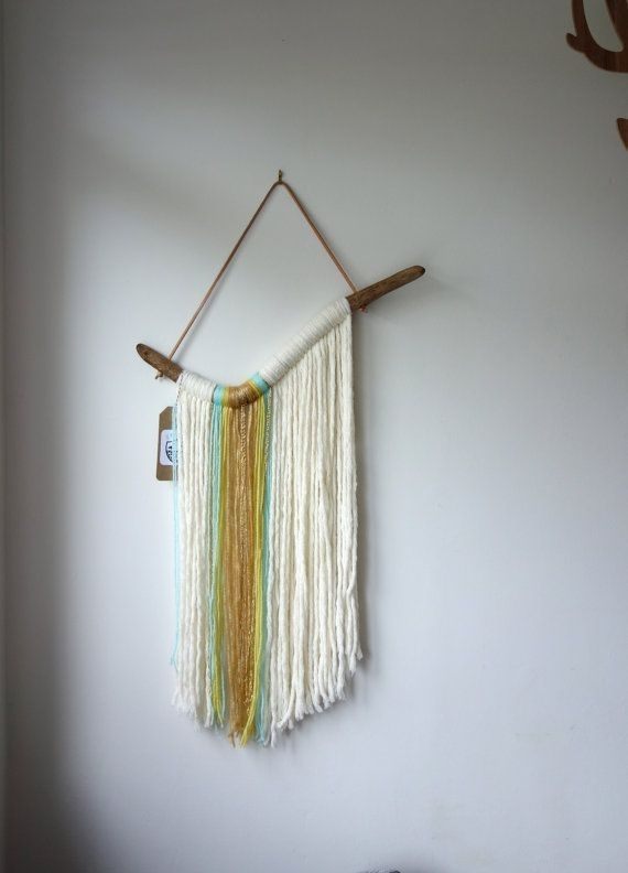 "Driftwood Yarn Wall Hanging / ""waterfall"" / Textile Wall Art Within Yarn Wall Art (Image 14 of 25)"
