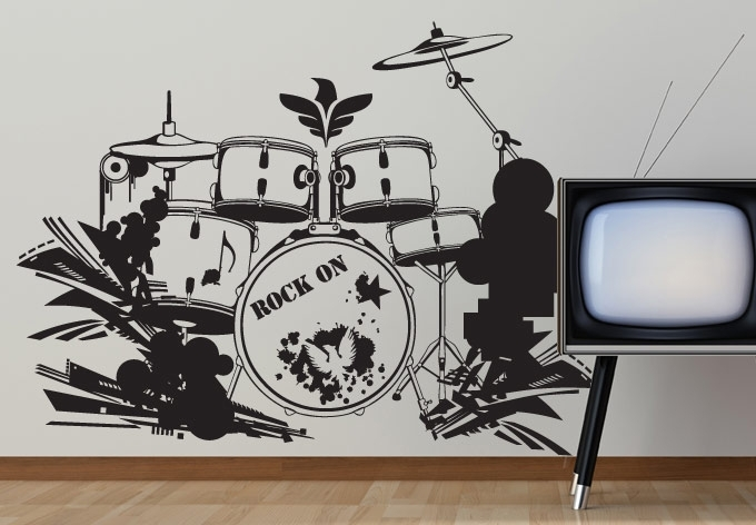 Drum Set Wall Decal Decor – Music Style For Your Home Within Music Wall Art (View 6 of 10)