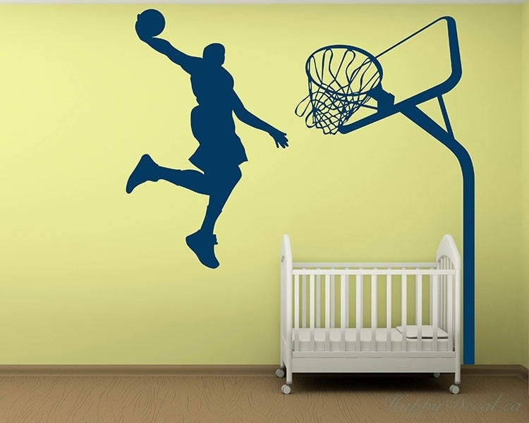 Dunking Boy Vinyl Decals Silhouette Modern Wall Art Sticker With Basketball Wall Art (Image 6 of 10)