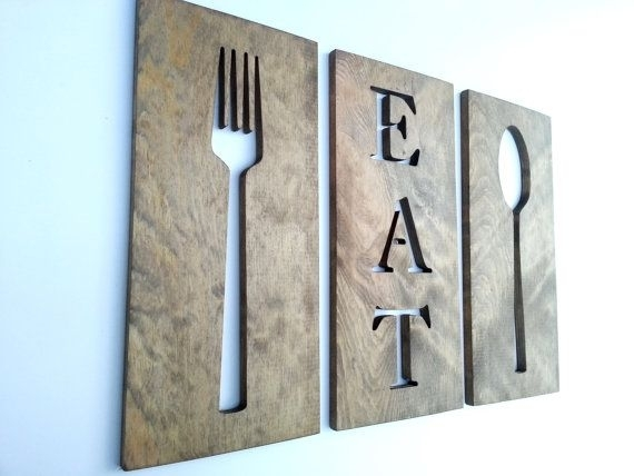 Eat Fork Spoon Kitchen Art Wooden Plaques Wall Decor Carved Wooden Regarding Fork And Spoon Wall Art (View 22 of 25)