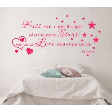 Ed Sheeran Thinking Out Loud – Kiss Me Song Lyrics Wall Art Sticker Within Song Lyric Wall Art (View 18 of 20)