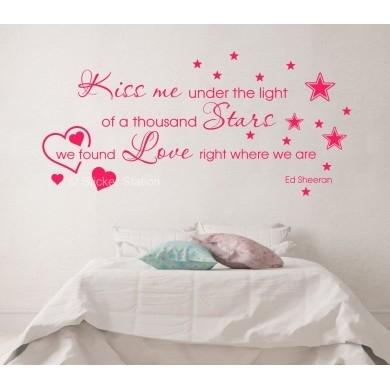 Ed Sheeran Thinking Out Loud - Kiss Me Song Lyrics Wall Art Sticker within Song Lyric Wall Art