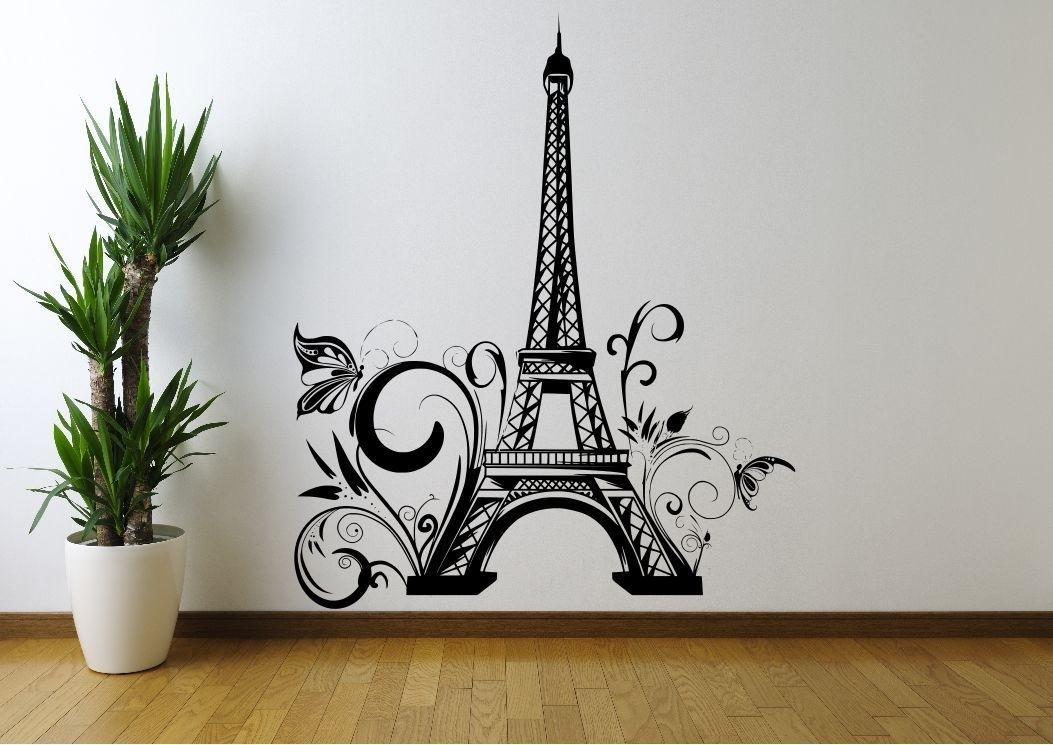 Eiffel Tower Flowers Paris Wall Sticker Decal Mural Stencil Vinyl For Paris Wall Art (View 5 of 10)