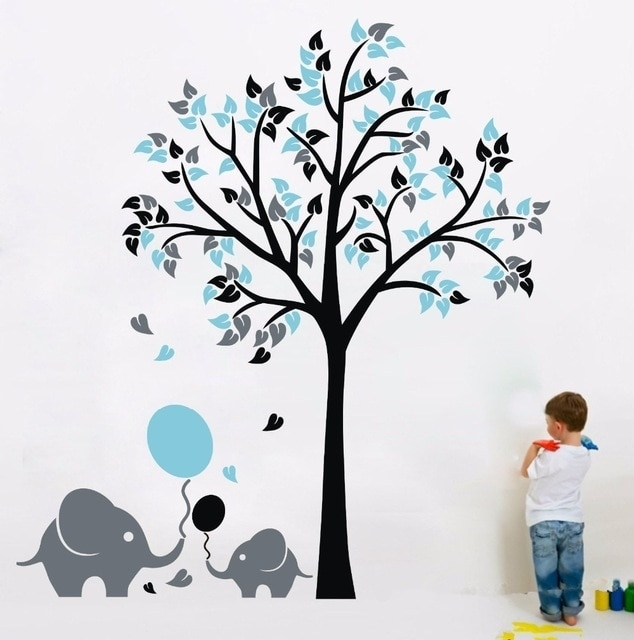 Elephant Balloon Tree Wall Sticker Vinyl Decal Kids Nursery Baby Within Baby Room Wall Art (Image 13 of 20)