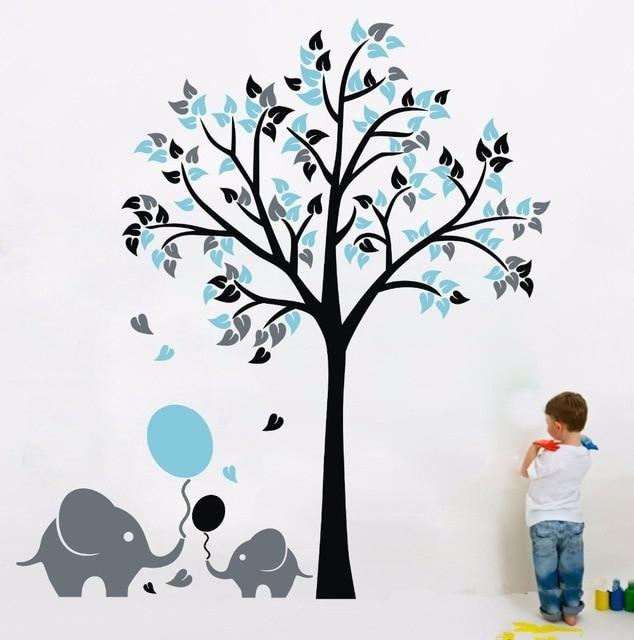 Elephant Balloon Tree Wall Sticker Vinyl Decal Kids Nursery Baby Within Baby Room Wall Art (Image 13 of 20)
