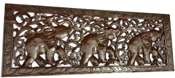 Elephant Home Decor Tropical Home Decor Carved Wood Wall Art With Wood Carved Wall Art (Image 16 of 25)