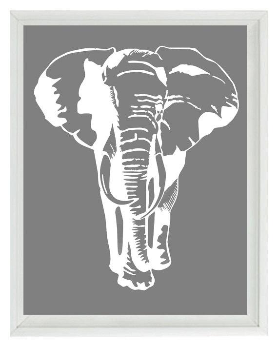 Elephant Nursery Wall Art Prints White Gray Decor | Etsy Regarding Elephant Wall Art (View 9 of 10)
