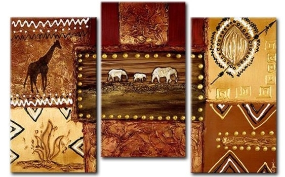 Embroidered African Landscape Canvas Wall Art – Cheap African Canvas Art With Regard To African Wall Art (Image 8 of 10)