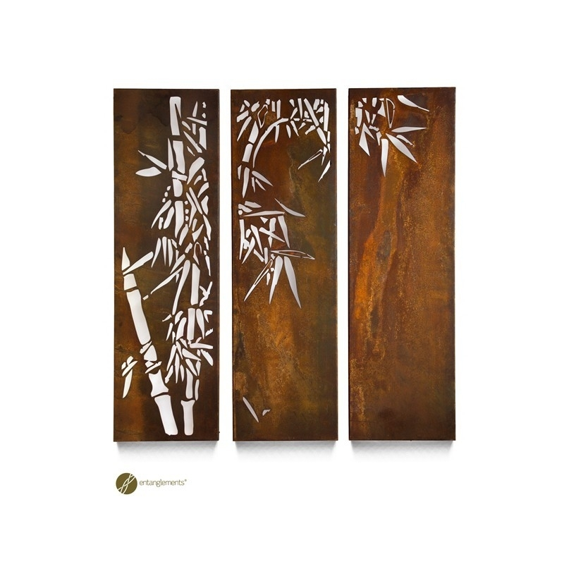 Entanglements | Bamboo Triptych Garden Wall Art | The Block Shop Pertaining To Bamboo Wall Art (Image 18 of 25)