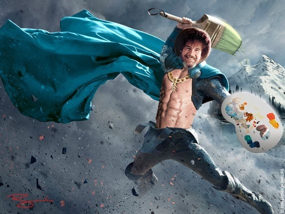 Epic Little Trees – Bob Ross Thor Limited Edition Parody Mashup Throughout Ross Wall Art (Image 6 of 20)