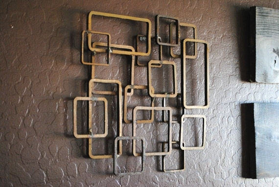 Excellent Retro Modern Metal Sculpture Art Abstract Mid Century For With Regard To Contemporary Metal Wall Art (View 6 of 10)