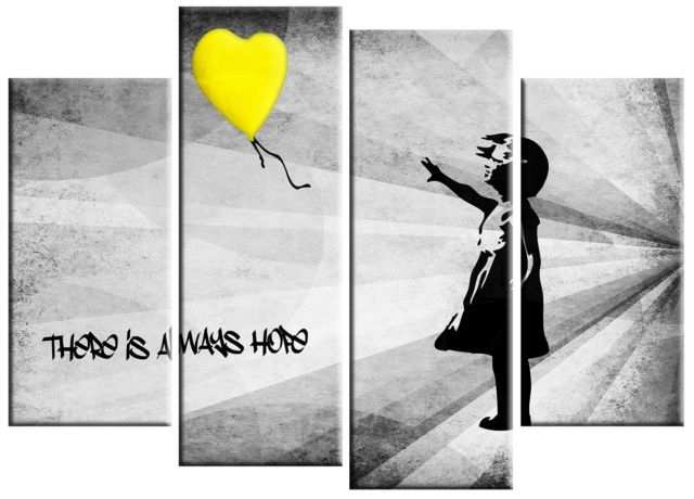Extra Large Banksy Girl & Yellow Balloon Canvas Picture Yellow Grey Within Yellow Wall Art (View 3 of 20)