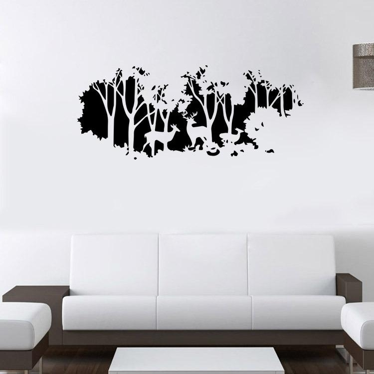 Extra Large Deer In The Forest Wall Art Mural Decor Living Room With Wall Art Decors (Image 4 of 10)