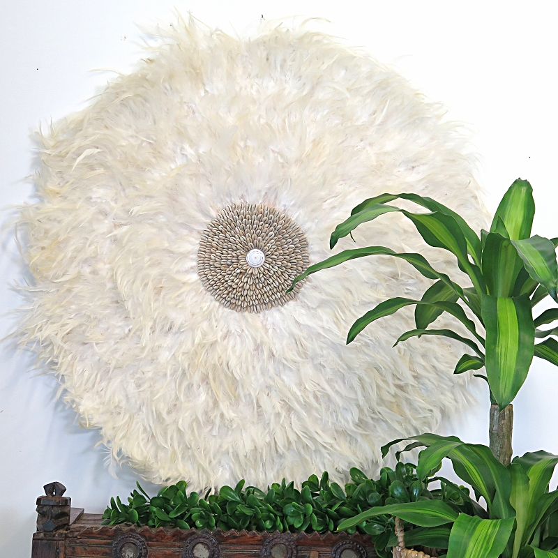 Extra Large Feather Wall Art – Ivory – With Shell Detail – Maison For Feather Wall Art (Image 4 of 25)