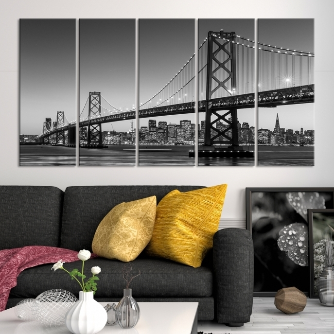 Extra Large Wall Art San Francisco Canvas Print – Black And White For San Francisco Wall Art (Image 9 of 25)