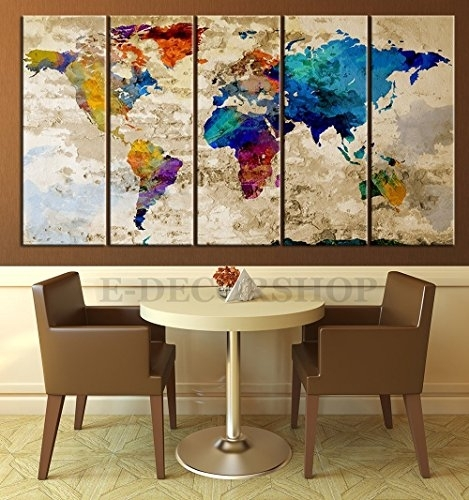 Ezon Ch Modern Art World Map Canvas Print Abstract Large Wall Art Intended For Large Wall Art (View 10 of 10)