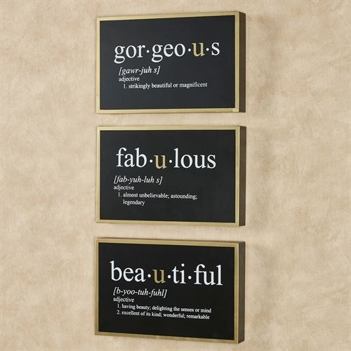 Fabulous Gorgeous Beautiful Framed Word Wall Art Sign Set With Regard To Word Wall Art (Image 2 of 20)