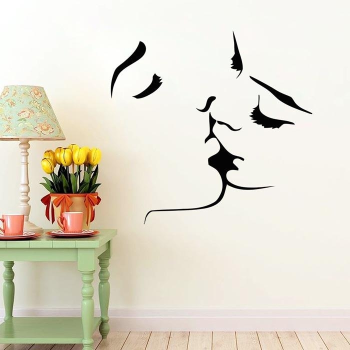 Face Kiss Couple Wedding Wall Art Sticker Decal Home Decoration Within Wall Art Decals (Image 3 of 10)