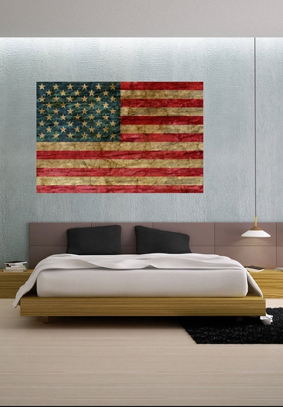 Faded Rustic American Flag Landmark – Vinyl Wall Decal Full Color With Regard To Rustic American Flag Wall Art (View 12 of 25)