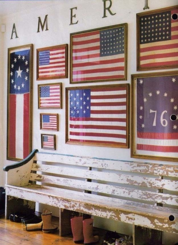 Faded Rustic American Flag Landmark Vinyl Wall Decal Full Color With Regard To Rustic American Flag Wall Art (Image 9 of 25)