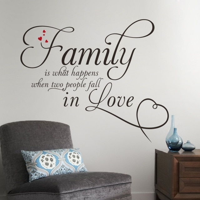 Family In Love Home Decor Creative Quote Wall Decals Removable Vinyl With Quote Wall Art (View 15 of 25)