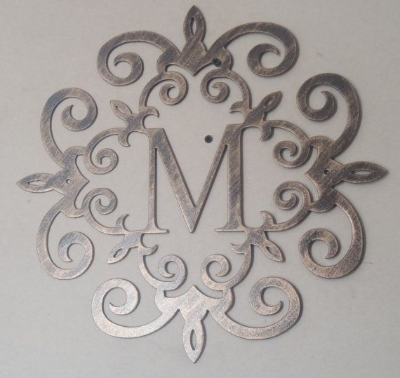"Family Initial, Monogram, Antique Look 20"", Any Letter Available Regarding Metal Letter Wall Art (View 6 of 25)"
