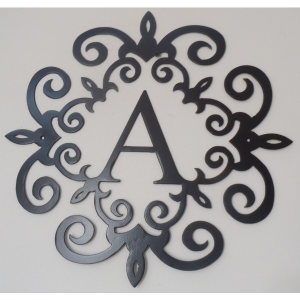 Family Initial, Monogram Inside A Metal Scroll With A Letter, 20 Throughout Black Metal Wall Art (Image 15 of 25)