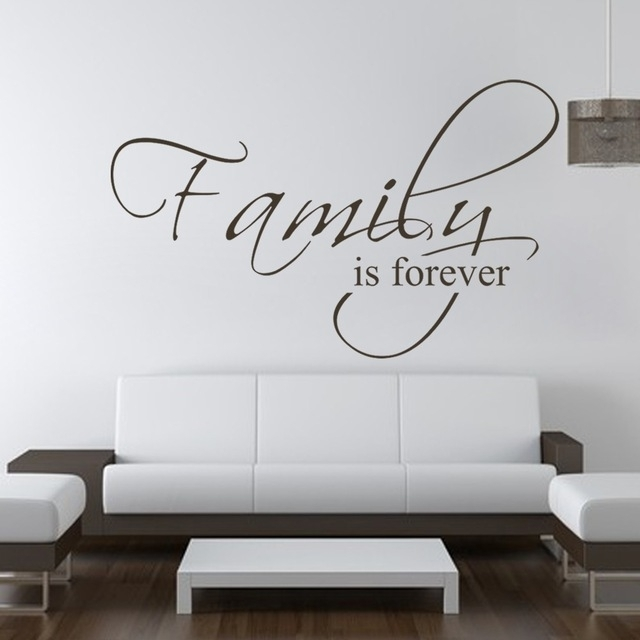 Family Is Forever Bedroom Decals Wall Decal Quote Vinyl Text With Wall Sticker Art (View 7 of 10)