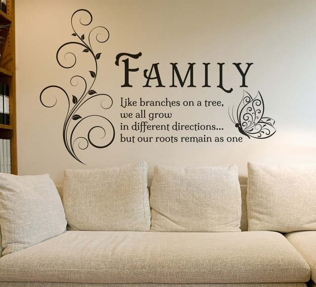 Family Like Branches Quotes Butterfly Vinyl Wall Art Sticker Flower In Vinyl Wall Art (Image 2 of 10)
