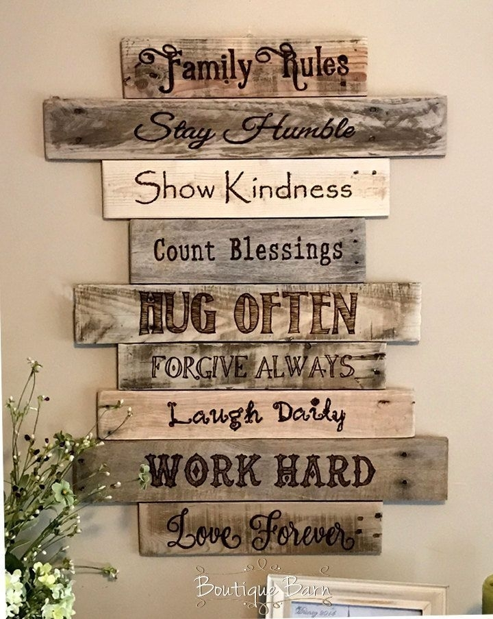 Family Rules – Christian – Home Decor – Home Inspiration – Wall Art Within Wood Wall Art Quotes (Image 7 of 20)
