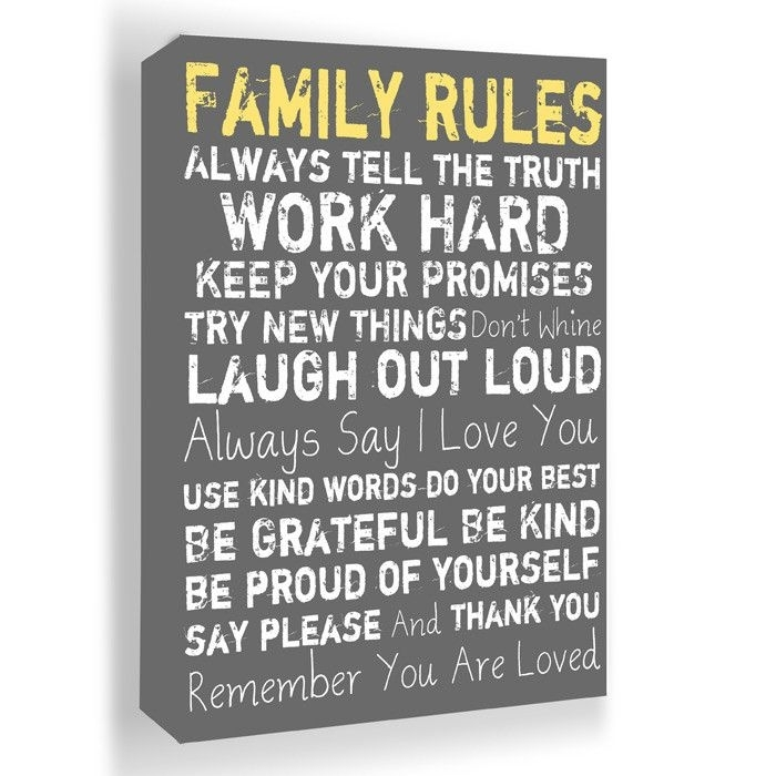 Family Rules Framed Wall Art In Gray – I Just Love This $54 | Want Pertaining To Family Rules Wall Art (View 12 of 20)
