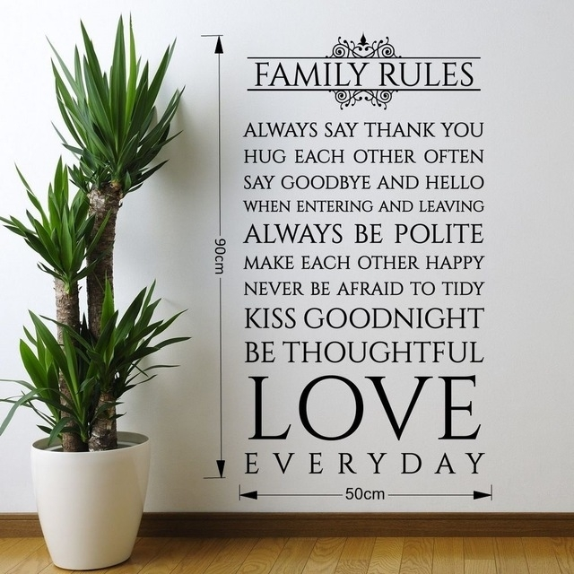 Family Rules Love Everyday Quotes Vinyl Wall Sticker Art Wall Decor Within Family Rules Wall Art (Image 7 of 20)