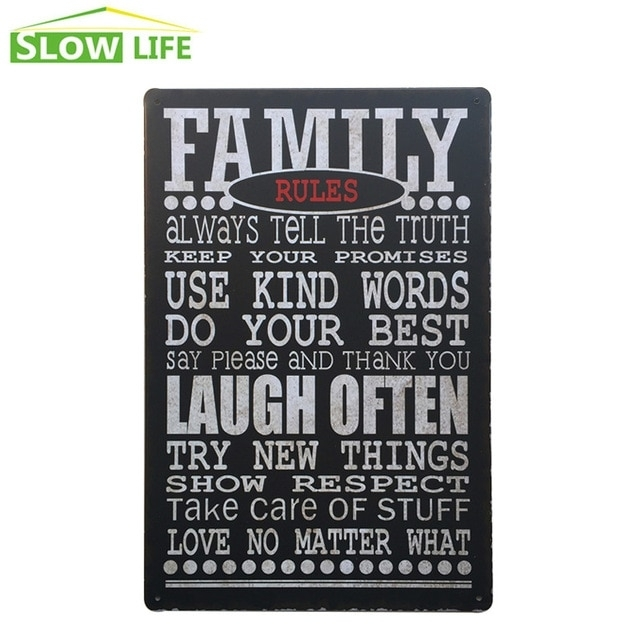 Family Rules Metal Tin Sign Family Housel Wall Decor Metal Sign Throughout Family Rules Wall Art (Image 8 of 20)