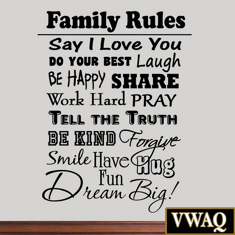 Family Rules Vinyl Wall Decal Inspirational Quote Home Decor Family Within Family Rules Wall Art (Image 9 of 20)