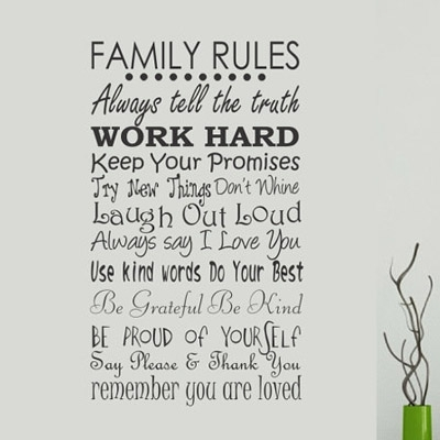 Family Rules Wall Decal « Wallapalooza Decals For Family Rules Wall Art (Image 15 of 20)