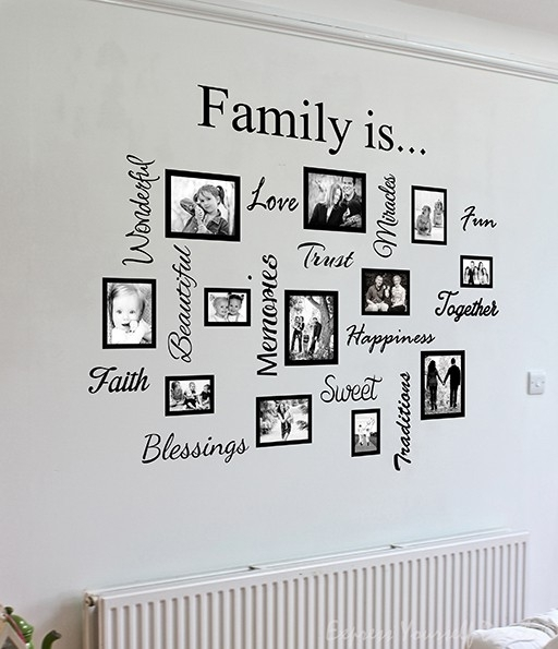 Family Word Quote Gallery Wall | Wall Art Decal Sticker In Family Wall Art (View 4 of 10)