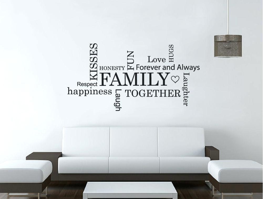 Family Word Wall Art Family Word Art For Walls Sticker Family Word Within Word Wall Art (Image 3 of 20)