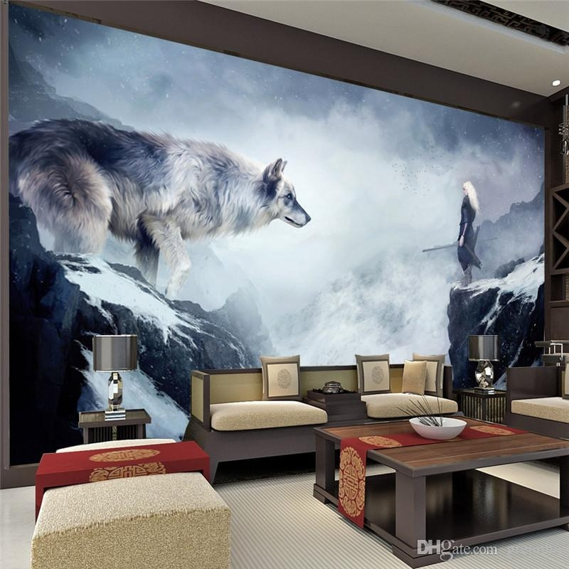 Fantasy Ice World Wolf Wallpaper Animal Photo Wallpaper Custom 3D Inside Giant Wall Art (View 10 of 25)