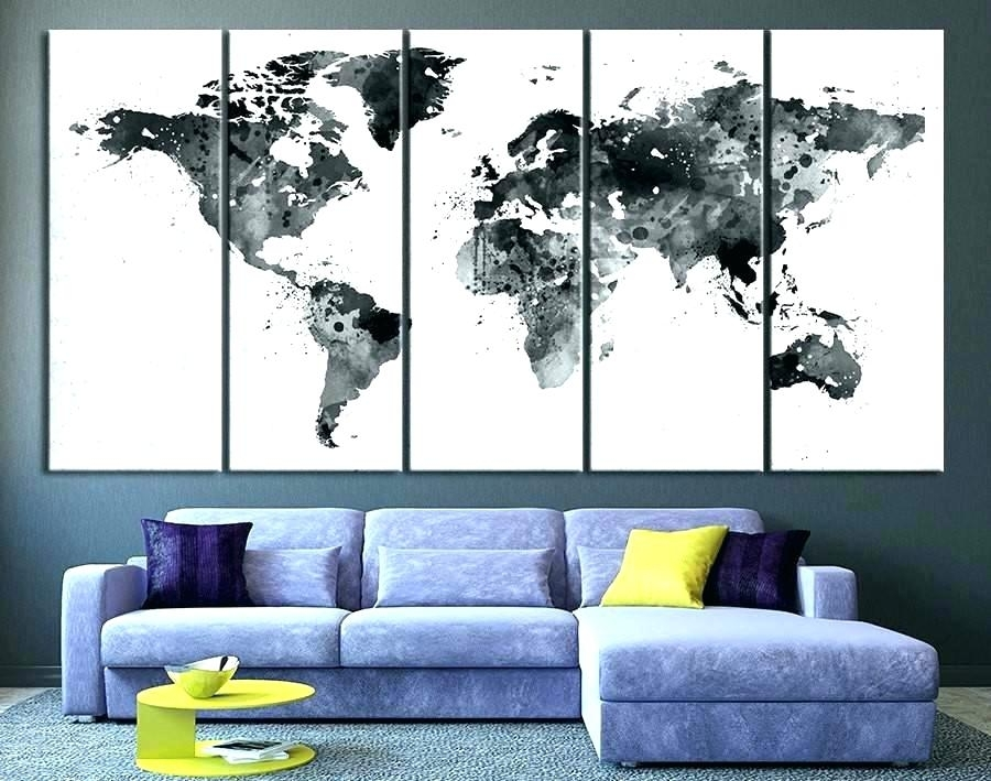 Fascinating World Map Wall Art World Map Decor Map Decor Black White Throughout Maps Wall Art (Image 8 of 25)