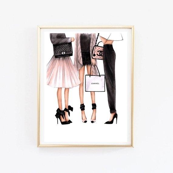 Fashion Illustration Chanel Art Chanel Print Fashion Wall Art   Etsy Throughout Fashion Wall Art (View 3 of 20)