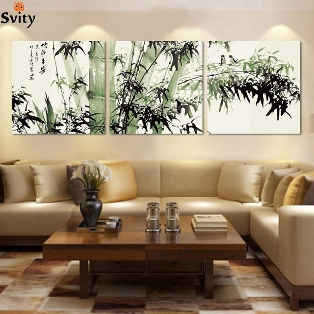 Fashion Large Canvas Art Cheap Modern Abstract Bamboo Canvas Wall Inside Cheap Large Canvas Wall Art (View 22 of 25)