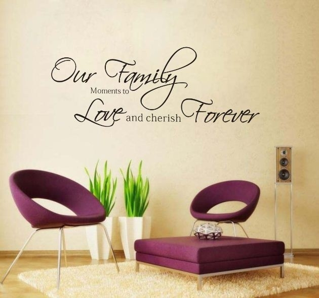 Fashion Our Family Moments Love Forever Removable Vinyl Wall Art with Word Art for Walls