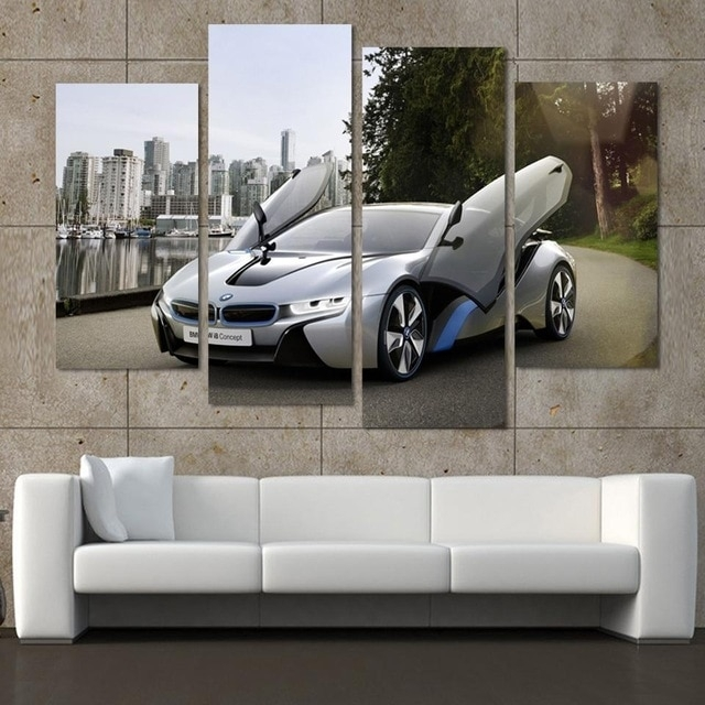 Fashion Sport Car Canvas Prints Painting Decoration For Bed Room 4 Throughout Car Canvas Wall Art (View 11 of 25)