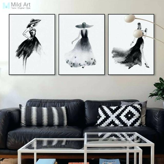 Fashion Wall Abstract Black White Fashion Model Big Canvas Art Print With Fashion Wall Art (View 19 of 20)