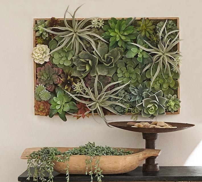 Faux Succulent In A Wood Box Wall Art With Regard To Succulent Wall Art (Image 8 of 25)