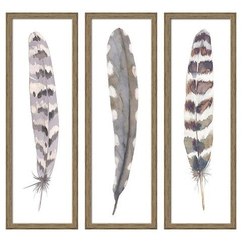 "Feather 3 Pack Wall Art Target | 12""x36"" Framed 3 Pack Feathers Within Feather Wall Art (View 23 of 25)"